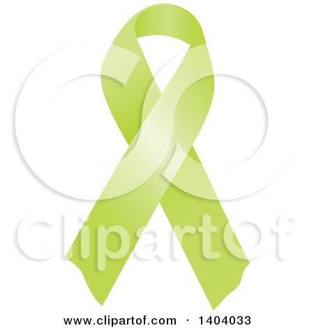 Clipart of a Lime Green Awareness Ribbon - Royalty Free Vector Illustration by inkgraphics