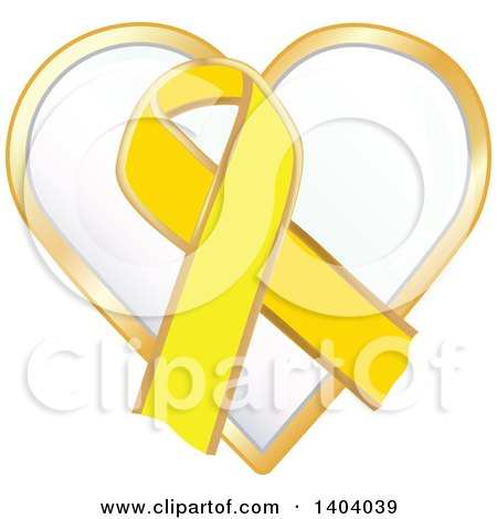 Clipart of a Yellow Awareness Ribbon and Heart Icon - Royalty Free Vector Illustration by inkgraphics