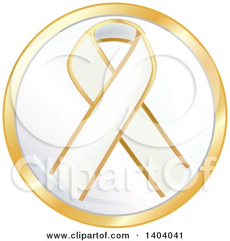 Clipart of a White Awareness Ribbon Icon - Royalty Free Vector Illustration by inkgraphics