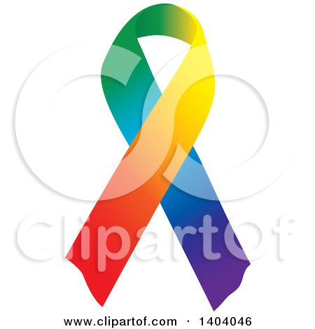 Clipart of a Rainbow Awareness Ribbon - Royalty Free Vector Illustration by inkgraphics