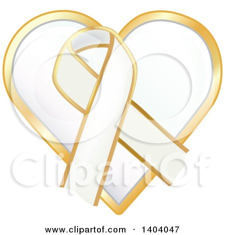 Clipart of a White Awareness Ribbon and Heart Icon - Royalty Free Vector Illustration by inkgraphics