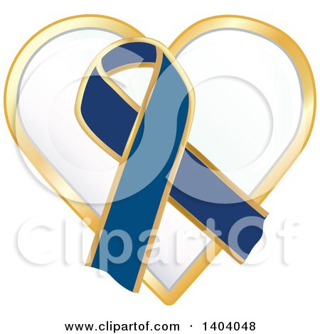 Clipart of a Navy Blue Awareness Ribbon Heart Icon - Royalty Free Vector Illustration by inkgraphics