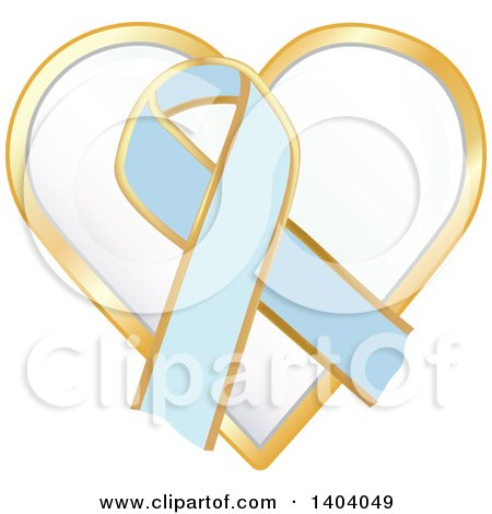 Clipart of a Light Blue Awareness Ribbon and Heart Icon - Royalty Free Vector Illustration by inkgraphics