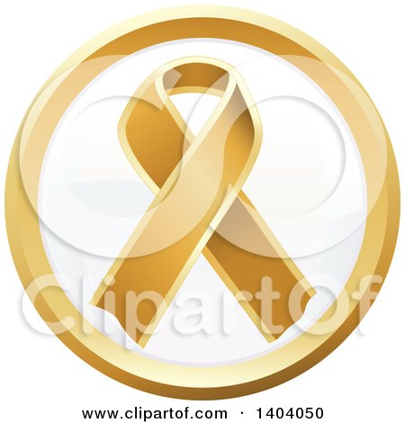 Clipart of a Round Gold Awareness Ribbon Icon - Royalty Free Vector Illustration by inkgraphics