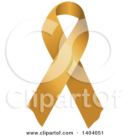 Clipart of a Gold Awareness Ribbon - Royalty Free Vector Illustration by inkgraphics