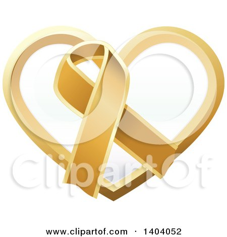 Clipart of a Gold Awareness Ribbon and Heart Icon - Royalty Free Vector Illustration by inkgraphics