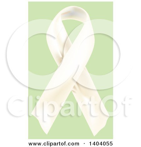 Clipart of a White Awareness Ribbon on Green - Royalty Free Vector Illustration by inkgraphics