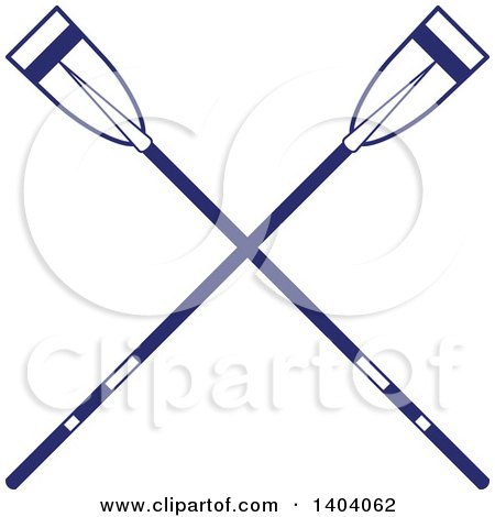 Clipart of Blue and White Nautical Crossed Oars - Royalty Free Vector Illustration by inkgraphics