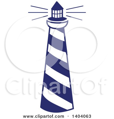 Clipart of a Blue and White Nautical Lighthouse - Royalty Free Vector Illustration by inkgraphics