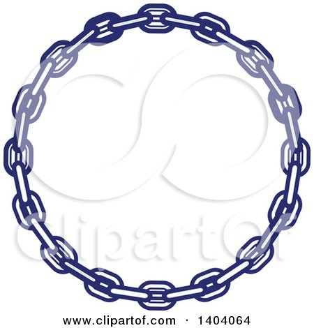 Clipart of a Blue and White Nautical Frame Made of Chains - Royalty Free Vector Illustration by inkgraphics