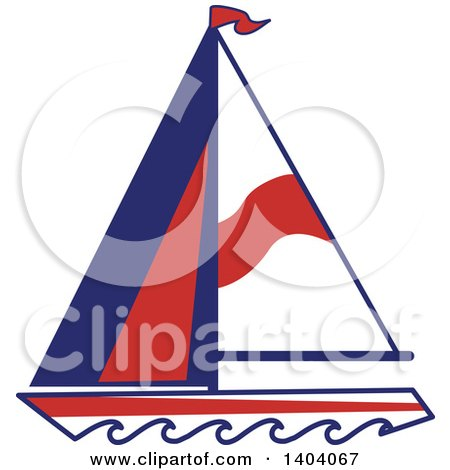 Clipart of a Blue Red and White Nautical Sailboat - Royalty Free Vector Illustration by inkgraphics