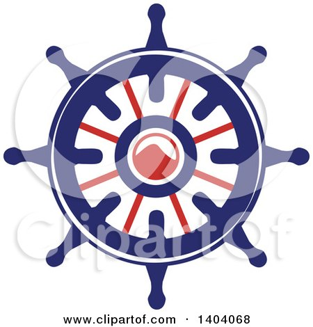 Clipart of a Blue Red and White Nautical Helm - Royalty Free Vector Illustration by inkgraphics