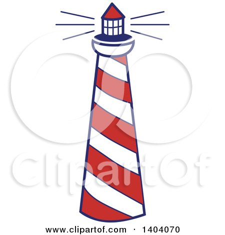 Clipart of a Blue Red and White Nautical Lighthouse - Royalty Free Vector Illustration by inkgraphics