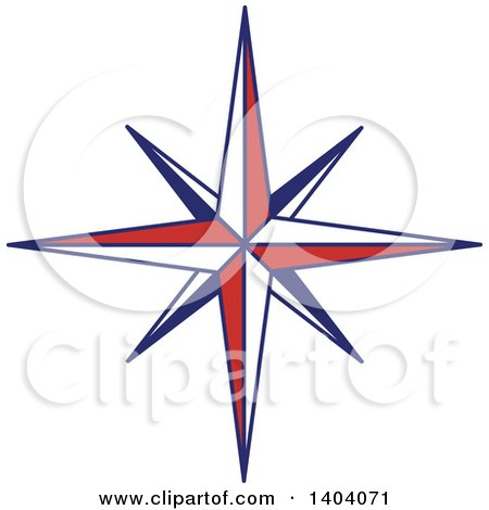 Clipart of a Blue Red and White Nautical Star - Royalty Free Vector Illustration by inkgraphics