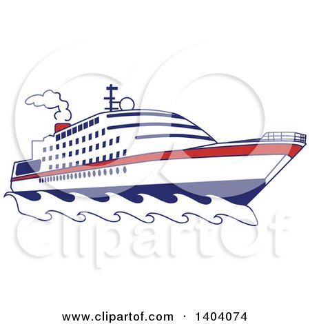Clipart of a Blue Red and White Nautical Yacht or Cruise Ship - Royalty Free Vector Illustration by inkgraphics