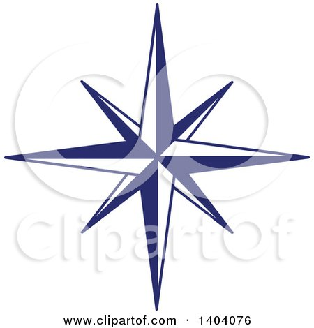 Clipart of a Blue and White Nautical Star - Royalty Free Vector Illustration by inkgraphics