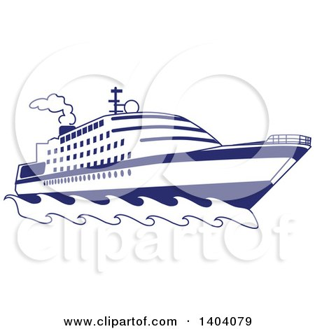 Clipart of a Blue and White Nautical Yacht or Cruise Ship - Royalty Free Vector Illustration by inkgraphics