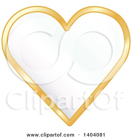Clipart of a White Heart in a Gold Frame - Royalty Free Vector Illustration by inkgraphics