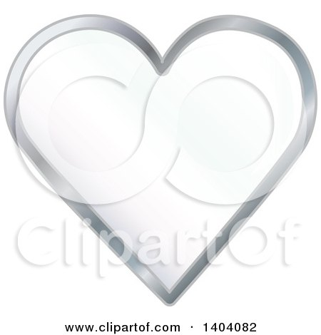 Clipart of a White Heart in a Silver Frame - Royalty Free Vector Illustration by inkgraphics