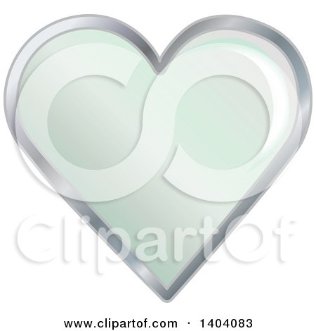 Clipart of a Green Heart in a Silver Frame - Royalty Free Vector Illustration by inkgraphics