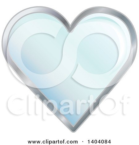 Clipart of a Blue Heart in a Silver Frame - Royalty Free Vector Illustration by inkgraphics