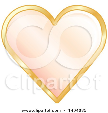 Clipart of a Pastel Orange Heart in a Gold Frame - Royalty Free Vector Illustration by inkgraphics