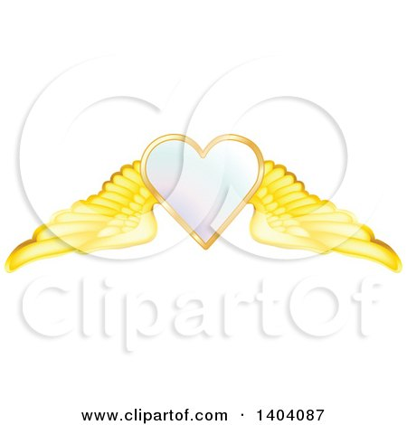 Clipart of a Winged White Heart in a Gold Frame - Royalty Free Vector Illustration by inkgraphics