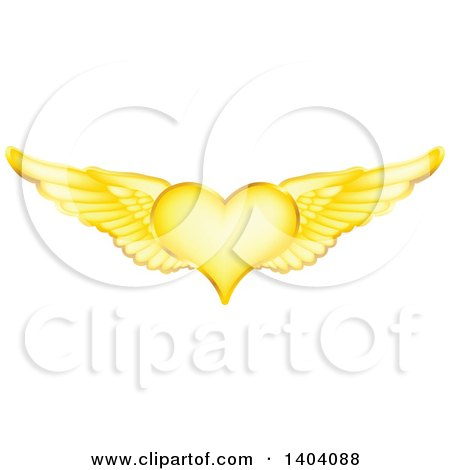 Clipart of a Winged Gold Heart - Royalty Free Vector Illustration by inkgraphics