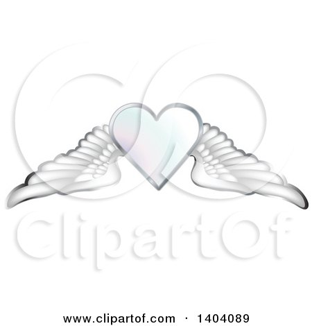 Clipart of a Winged White Heart with Wings - Royalty Free Vector Illustration by inkgraphics