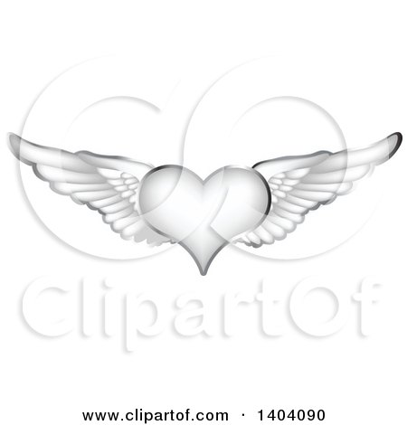 Clipart of a Winged Silver Heart with Wings - Royalty Free Vector Illustration by inkgraphics