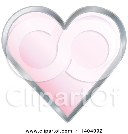 Clipart of a Pink Heart in a Silver Frame - Royalty Free Vector Illustration by inkgraphics
