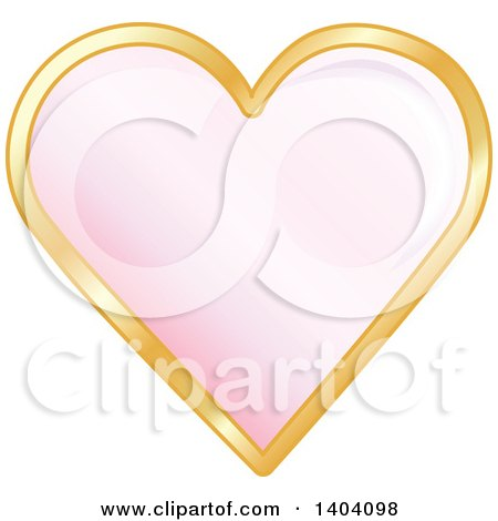 Clipart of a Pink Heart in a Gold Frame - Royalty Free Vector Illustration by inkgraphics