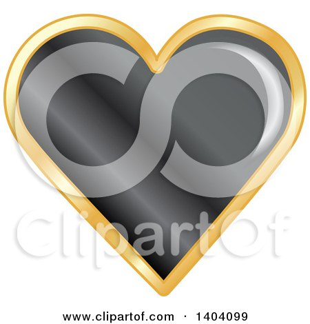 Clipart of a Black Heart in a Gold Frame - Royalty Free Vector Illustration by inkgraphics
