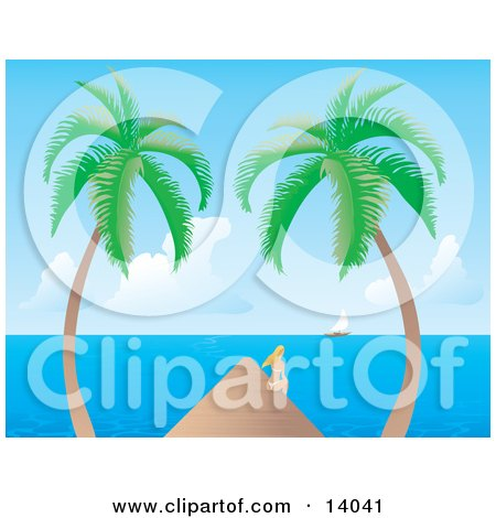 Pretty Young Blond Woman in a White Bikini, Sitting on the Edge of a Dock Between Two Palm Trees and Watching a Sailboat on the Horizon Clipart Illustration by Rasmussen Images