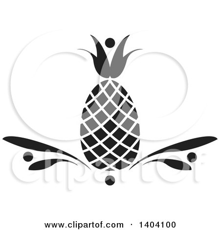 Clipart of a Black and White Pineapple Design - Royalty Free Vector Illustration by inkgraphics