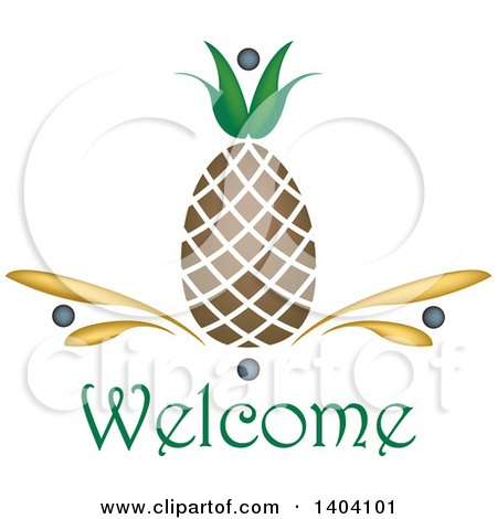 Clipart of a Pineapple Welcome Design - Royalty Free Vector Illustration by inkgraphics