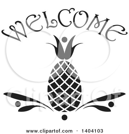 Clipart of a Black and White Pineapple Welcome Design - Royalty Free Vector Illustration by inkgraphics