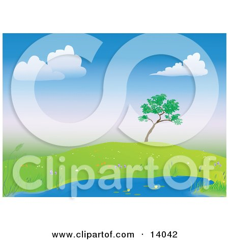 Lone Tree On A Hill Over A Pond Surrounded By Wild Flowers Clipart Illustration by Rasmussen Images