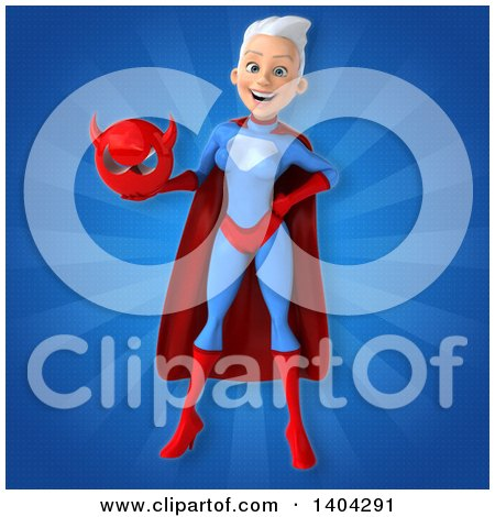 Clipart of a 3d Young White Haired Caucasian Female Super Hero in a Blue and Red Suit - Royalty Free Illustration by Julos