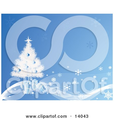 Gifts Tucked Under a Snow Flocked Christmas Tree on a Blue Background of Snowflakes Clipart Illustration by Rasmussen Images
