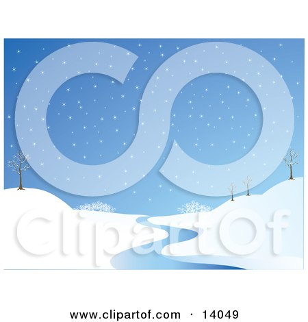 Wintry Snowflakes Falling On A Landscape With Bare Trees And A Winding Stream Clipart Illustration by Rasmussen Images