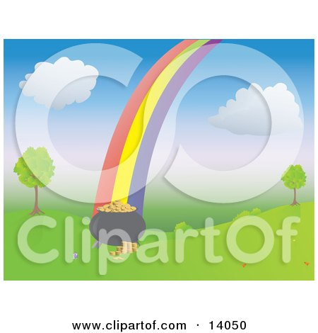 Colorful Rainbow Leading to a Full Pot Of Gold By Trees On A Grassy Hill Clipart Illustration by Rasmussen Images