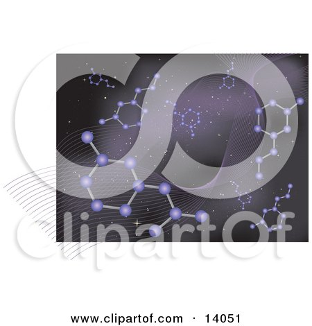 Purple Galaxy Web Background of Molecules Clipart Illustration by Rasmussen Images