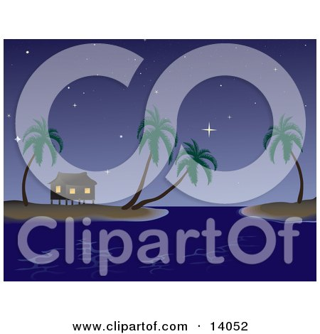 Night Time Tropical Beach Scene of a Vacation Hut on Stilts Under the Stars on an Island With Palm Trees Clipart Illustration by Rasmussen Images