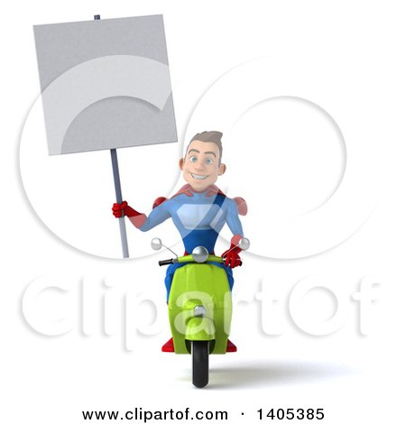 Clipart of a 3d Young Brunette White Male Super Hero in a Blue and Red Suit, Riding a Scooter, on a White Background - Royalty Free Illustration by Julos