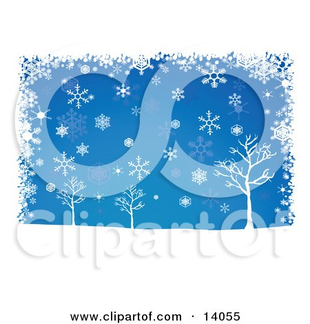 Winter Snowflakes Falling Over Bare Trees on a Blue Background Clipart Illustration by Rasmussen Images