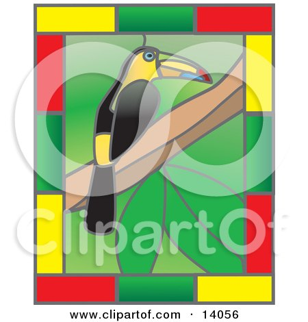 Stained Glass Window Of A Colorful Toucan Bird Perched On A Tree Branch With A Border Of Yellow, Green And Red Rectangles Clipart Illustration by Rasmussen Images