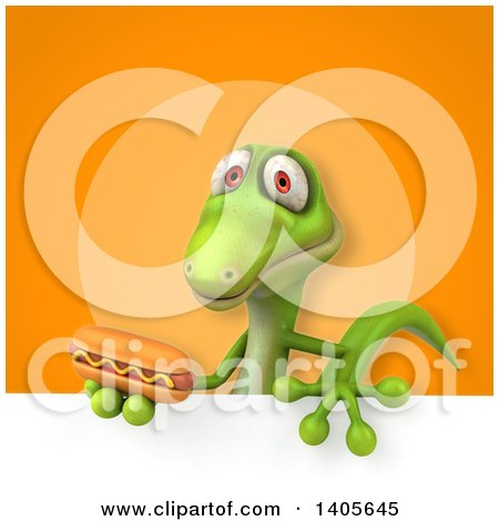 Clipart of a 3d Green Gecko Lizard - Royalty Free Illustration by Julos