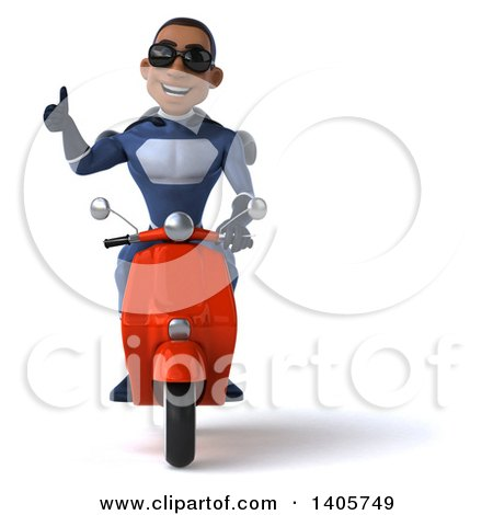 Clipart of a 3d Young Black Male Super Hero in a Dark Blue Suit, on a White Background - Royalty Free Illustration by Julos