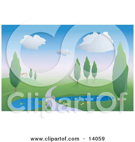 Driveway Road Crossing Over A Lily Pond Through A Hilly Landscape With Trees And Leading To A House Clipart Illustration by Rasmussen Images